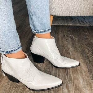 Zara White Leather Croc Ankle Cowboy Booties 10